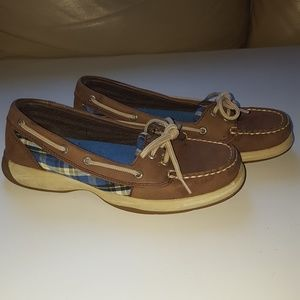 Sperry leather and plaid boat shoe